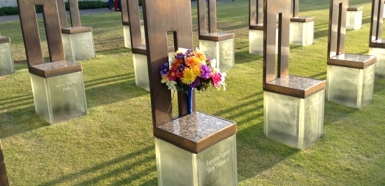 The chairs on the south lawn of the Memorial represent the lives lost on April 19th, 1995.  The smaller chairs represent the children.