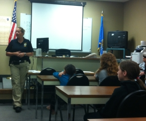 Briefing room at the Norman Police Department