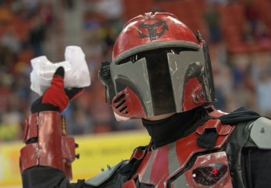 Here I am in my custom Mandalorian costume throwing t-shirts to the crowd.