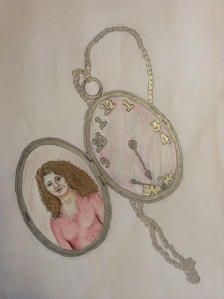 Artwork by Kim Martin.  She used a silver pen to give the metal of the locket a sheen.
