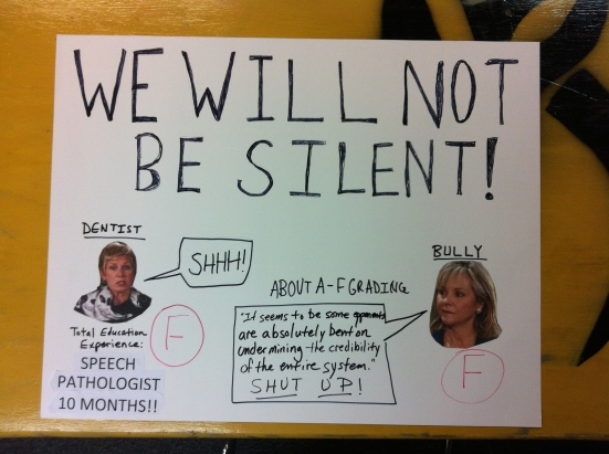 My poster for the rally.  Janet Barresi, our state superintendent, is a dentist by trade and was elected solely because she is Republican.  Our governor does not like us to criticize her policies, and wishes we would just be silent.