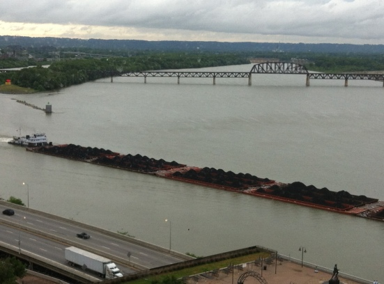 The view of Louisville, KY from my hotel window.  That's a barge pushing a ton of coal.