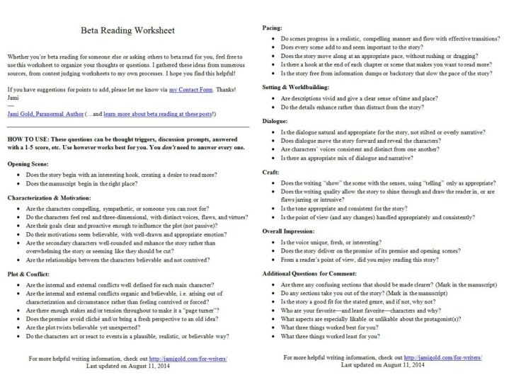 Schön Worksheets For Writers Jami Gold Paranormal Author A An The ...